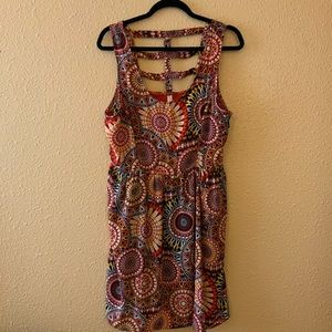Boho Printed Caged Dress